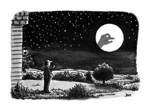 A man outside his house looks at the moon.  He is surprised to see a shado… - New Yorker Cartoon by John Jonik