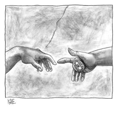 God's hand touching Adam's hand a la Sistine Chapel ceiling, with addition… - New Yorker Cartoon