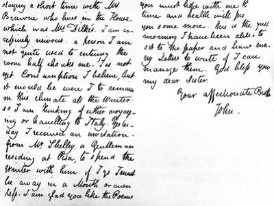Letter to His Younger Sister, Fanny Keats, Mentioning That He Is Staying as a Guest of Mrs…