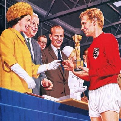 Bobby Moore Collecting the Football World Cup Trophy in 1966 by John Keay