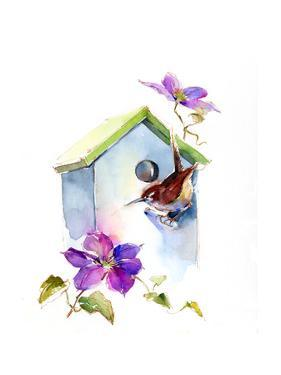 Wren with Birdhouse and Clematis, 2016 by John Keeling