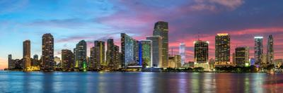Florida, Miami Skyline at Dusk by John Kellerman