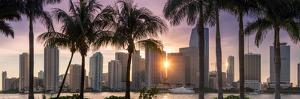 Florida, Miami Skyline at Sunset by John Kellerman