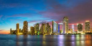 Usa, Florida, Miami Skyline at Dusk by John Kellerman
