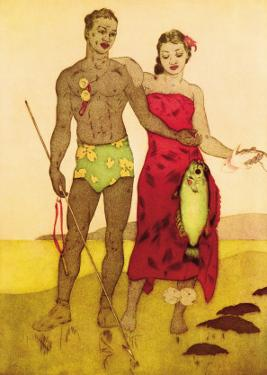 Fisherman, Royal Hawaiian Hotel Menu Cover c.1950s by John Kelly