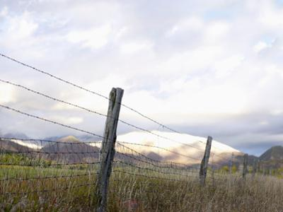 Usa, Colorado, Mountain Landscape with Fence in Foreground