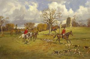 Hunting below the ruins at Knepp (Sussex) Castle by John King
