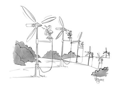 A line of windmills is powered by electric fans. - New Yorker Cartoon