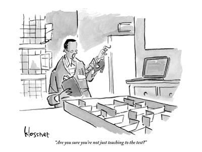 """""""Are you sure you're not just teaching to the test?"""" - New Yorker Cartoon by John Klossner"""