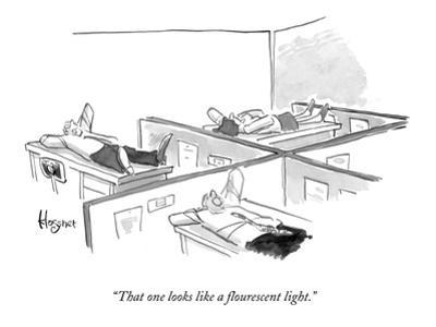 """That one looks like a flourescent light."" - New Yorker Cartoon"