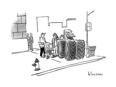 Two parents with children in prams speak. One pram has enormous monster tr... - New Yorker Cartoon