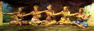 Siva Dance with 5 Dancers, Vaiala, Samoa, 1890 by John La Farge