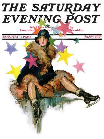 """""""A Fall from Skates,"""" Saturday Evening Post Cover, January 11, 1930"""