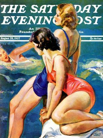 """""""At the Pool,"""" Saturday Evening Post Cover, August 28, 1937"""