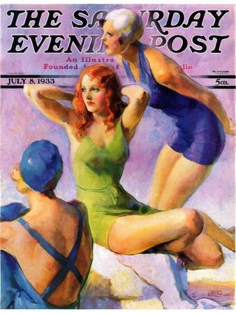 """""""Three Bathing Beauties,"""" Saturday Evening Post Cover, July 8, 1933"""