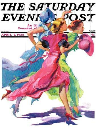 """Three Women Running from Rain,"" Saturday Evening Post Cover, April 2, 1932"