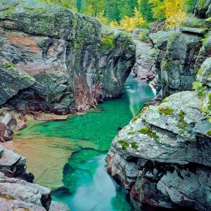 Gorge and Fall Colors Along Mcdonald Creek in Glacier National Park, Montana by John Lambing