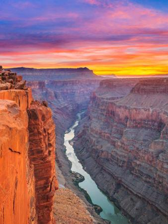 Sunrise over the Colorado River at Toroweap Overlook in Grand Canyon National Park, Arizona by John Lambing