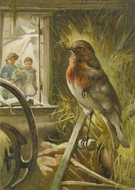 Two Children Watch a Robin the Barn Who is Standing on One Leg by John Lawson