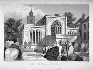 All Hallows-By-The-Tower Church, London, 1837 by John Le Keux