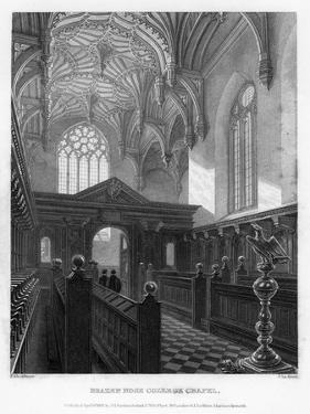 Brazen Nose (Brasenos) College Chapel, Oxford University, 1835 by John Le Keux