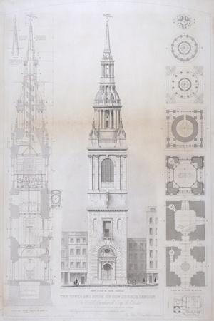 Church of St Mary Le Bow, City of London, 1850