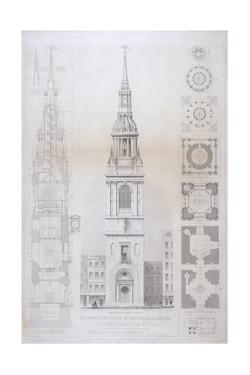 Church of St Mary Le Bow, City of London, 1850 by John Le Keux