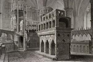 Edward the Confessor's Mausoleum, in the King's Chapel, Westminster Abbey, London, C1818 by John Le Keux