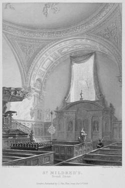 Interior of the Church of St Mildred, Bread Street, City of London, 1838 by John Le Keux