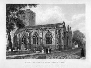 Magdalen Church, from Broad Street, Oxford, 1833 by John Le Keux