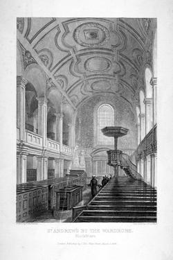 St Andrew by the Wardrobe, City of London, 1839 by John Le Keux