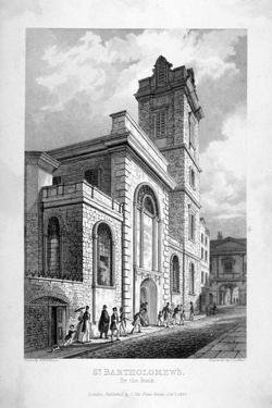 St Bartholomew-By-The-Exchange, City of London, 1837 by John Le Keux