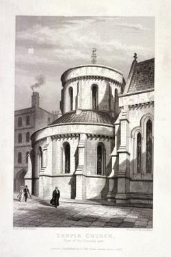 Temple Church, London, 1837 by John Le Keux