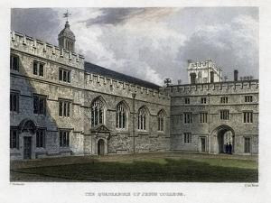The Quadrangle of Jesus College, Oxford University, C1830S by John Le Keux
