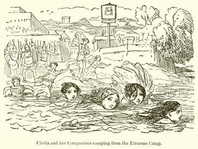 Claelia and Her Companions Escaping from the Etruscan Camp by John Leech