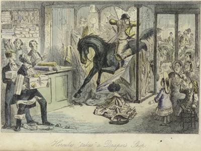 Hercules Takes a Draper's Shop by John Leech