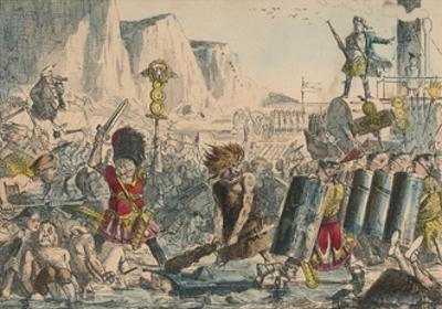 Landing of Julius Caesar, 1850 by John Leech