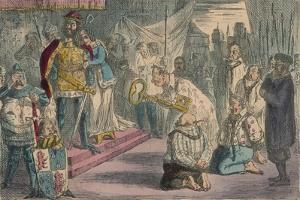 Queen Philippa Interceding with Edward III for the Six Burgesses of Calais, 1850 by John Leech