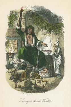 Scene from a Christmas Carol by Charles Dickens, 1843 by John Leech