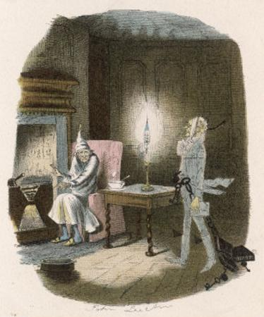 Scrooge Receives a Visit from the Ghost of Jacob Marley His Former Business Partner by John Leech