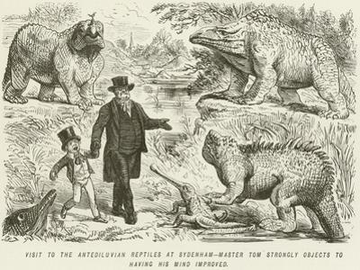Visit to the Antediluvian Reptiles at Sydenham-Master Tom Strongly Objects to Having His Mind… by John Leech