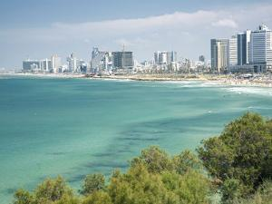 Beach, Skyline and Mediterranean Sea Viewed from Old Jaffa, Tel Aviv, Israel, Middle East by John & Lisa Merrill
