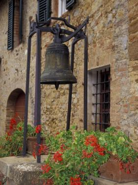 Bronze Bell, Geraniums and Farmhouse, Tuscany, Italy by John & Lisa Merrill