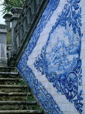 Stone Chairs and Azulejo Tiles, Rococo Palace, Cacela Velha, Portugal by John & Lisa Merrill