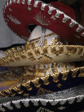 Traditional Hats Stacked on Display, Puerto Vallarta, Mexico by John & Lisa Merrill