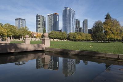 USA, Washington State, Bellevue. Downtown Park and skyline. by John & Lisa Merrill