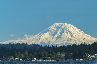 USA, Washington State, Bellevue. Mount Rainier seen from Lake Washington. by John & Lisa Merrill