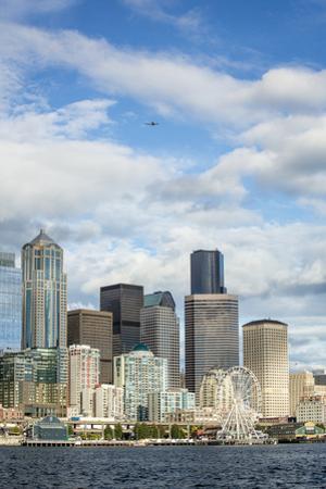 USA, Washington State, Seattle. Skyline from Elliott Bay. by John & Lisa Merrill