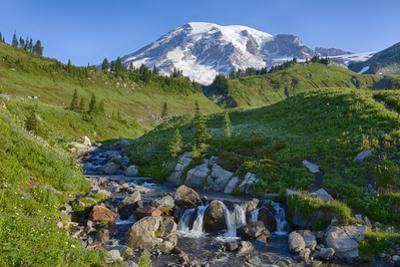 Washington State, Mount Rainier National Park, Edith Creek and Mount Rainier by John & Lisa Merrill