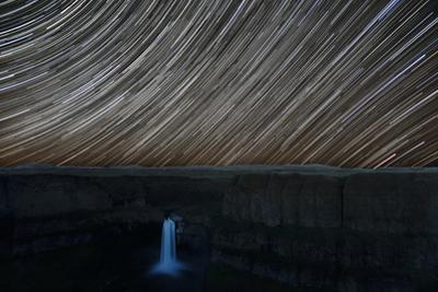 Washington State, Palouse Falls State Park, Palouse Falls, with star trail by John & Lisa Merrill